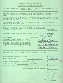 HENRY KOSTER - DOCUMENT SIGNED 02/28/1964