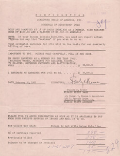 STANLEY KRAMER - DOCUMENT SIGNED 02/20/1961
