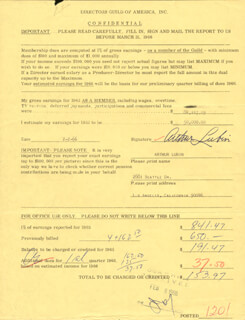 ARTHUR LUBIN - DOCUMENT SIGNED 02/02/1966