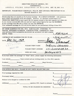 SHELDON LEONARD - DOCUMENT SIGNED 12/26/1969