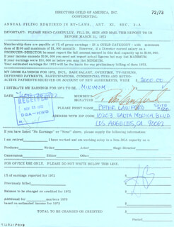PETER LAWFORD - DOCUMENT SIGNED 11/20/1972