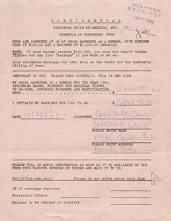 DARREN McGAVIN - DOCUMENT SIGNED 12/28/1961