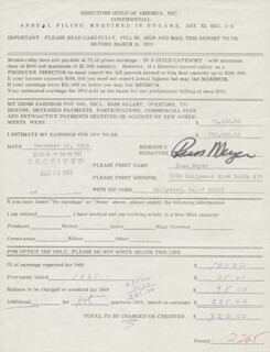 RUSS MEYER - DOCUMENT SIGNED 12/22/1969