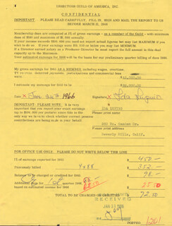 IDA LUPINO - DOCUMENT SIGNED 01/24/1966