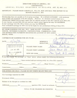 ALAN ARKIN - DOCUMENT SIGNED 01/20/1970