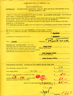 RAOUL WALSH - DOCUMENT SIGNED 02/19/1966