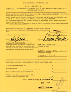 DENNIS WEAVER - DOCUMENT SIGNED 03/12/1966