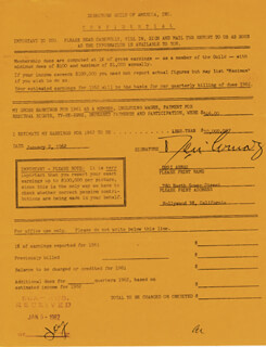 Autographs: DESI ARNAZ SR. - DOCUMENT SIGNED 01/02/1962