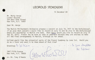 LEOPOLD STOKOWSKI - TYPED LETTER SIGNED 12/15/1969