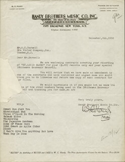 W.C. HANDY - TYPED LETTER SIGNED 12/08/1932