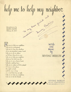 IRVING BERLIN - SHEET MUSIC SIGNED