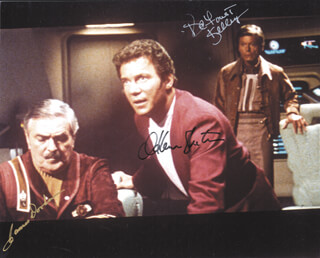 STAR TREK MOVIE CAST - AUTOGRAPHED SIGNED PHOTOGRAPH CO-SIGNED BY: JAMES DOOHAN, WILLIAM SHATNER, DEFOREST KELLEY