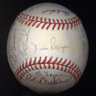 THE ST. LOUIS CARDINALS - AUTOGRAPHED SIGNED BASEBALL CO-SIGNED BY: KEITH MEX HERNANDEZ, KEN OBIE OBERKFELL, MICHAEL RAY ROCKY TYSON, PETE VUCKOVICH, KEN BOYER, TED SIMMONS, GEORGE A. FRAZIER, TERRY KENNEDY, SONNY RICHERT, DAN O'BRIEN, RAY THOMAS, ROGER FREED, JIM LENTINE, TONY SCOTT, JACK KROL, JOHN CHIEF URREA, LOU BROCK, ROB DRESSLER, BOB FORSCH, STEVE SWISHER, WAYNE GARRETT, JERRY (JULIO) MORALES, CLAUDE GOMER OSTEEN