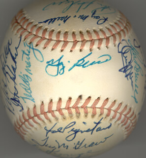 Autographs: THE NEW YORK METS - BASEBALL SIGNED CIRCA 1974 CO-SIGNED BY: YOGI BERRA, ROBERT L. BOB MILLER, EDDIE THE WALKING MAN YOST, KEN BOSWELL, DONALD A. HAHN, CLEON JONES, TEODORO TEDDY MARTINEZ, JOHN THE HAMMER MILNER, HARRY PARKER, JERRY KOOSE KOOSMAN, FELIX MILLAN, JOE PIGNATANO, RAY SADECKI, DUFFY DYER, RON HODGES, GEORGE STONE, ED KRANEPOOL, TUG (FRANK) MCGRAW, RUSTY STAUB, WAYNE GARRETT, BUD HARRELSON, JON MATLACK, BOB APODACA, ROY McMILLAN, JERRY GROTE, TOM TOM TERRIFIC SEAVER