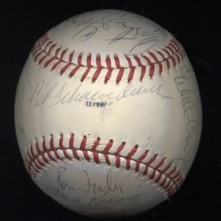 THE ST. LOUIS CARDINALS - AUTOGRAPHED SIGNED BASEBALL CO-SIGNED BY: KEITH MEX HERNANDEZ, DON KESSINGER, BOB BOBO MILLIKEN, MIKE ANDERSON, VICTOR LANIER HARRIS, RON FAIRLY, WILLIE CRAWFORD, EDDIE BUDDY SOLOMON, TED SIMMONS, DOUG CLAREY, ERIC (HAROLD) RASMUSSEN, JERRY MUMPHREY, JOHN DENNY, LYNN MCGLOTHEN, HENRY CRUZ, LOU BROCK, KEN RUDOLPH, BOB FORSCH, AL THE MAD HUNGARIAN HRABOSKY, PETE FALCONE, RED SCHOENDIENST, FRED KOENIG