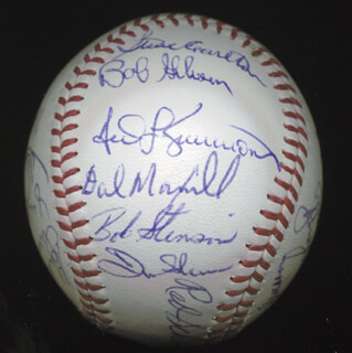 THE ST. LOUIS CARDINALS - AUTOGRAPHED SIGNED BASEBALL CIRCA 1971 CO-SIGNED BY: JIM BEAUCHAMP, JERRY McNERTNEY, DON SHAW, JOE TORRE, STEVE CARLTON, LUIS MELENDEZ, BOB GIBSON, KEN BOYER, VERN BENSON, CHRIS ZACHARY, TED SIMMONS, AL SANTORINI, LOU BROCK, MOE DRABOWSKY, CHUCK TAYLOR, BOB BURDA, FRANK LINZY, RED SCHOENDIENST, BOB STINSON, DAL MAXVILL