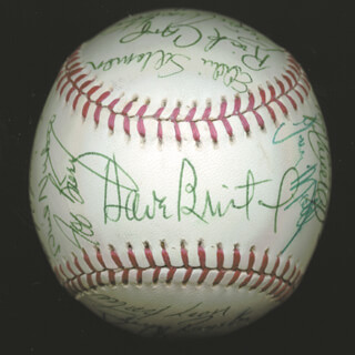 THE ATLANTA BRAVES - AUTOGRAPHED SIGNED BASEBALL CIRCA 1977 CO-SIGNED BY: ROD GILBREATH, PHIL KNUCKSIE NIEKRO, RICK CAMP, TOM PACIOREK, PRESTON HANNA, JOE NOLAN, DAVE BRISTOL, EDDIE BUDDY SOLOMON, WILLIE MONTANEZ, BARRY BONNELL, BRIAN ASSELSTINE, TERRY ROYSTER, DON COLLINS, DAVE SOUP CAMPBELL, DARREL CHANEY, BIFF POCOROBA, GARY MATTHEWS, SR., MAXIMINO MAX LEON, BUZZ CAPRA, ROWLAND OFFICE, CRAIG ROBINSON, VIC (VICTOR) CORRELL