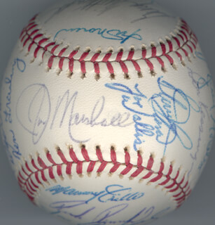 THE CHICAGO CUBS - AUTOGRAPHED SIGNED BASEBALL CIRCA 1975 CO-SIGNED BY: RICK BIG DADDY REUSCHEL, DON KESSINGER, BILL MADLOCK JR., DAVID (RODRIGUEZ) ROSELLO, ROBERT WALTER SPERRING, IRV NOREN, KEN FRAILING, JOHN (CHAMP) SUMMERS, ANDY THORNTON, RAY BURRIS, JOSE CARDENAL, STEVE STONE, STEVE SWISHER, JERRY (JULIO) MORALES, MANNY INDIO TRILLO, MARV GRISSOM, GEORGE MITTERWALD, RICK MONDAY, JOE WALLIS, BILL BONHAM, DAROLD KNOWLES, JIM MARSHALL, JACK BLOOMFIELD