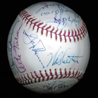 THE SAN FRANCISCO GIANTS - AUTOGRAPHED SIGNED BASEBALL CIRCA 1975 CO-SIGNED BY: BRUCE MILLER, GARY L. THOMASSON, JAKE BROWN, GARY LAVELLE, JOHN THE COUNT MONTEFUSCO, TOM BRADLEY, WILLIE MONTANEZ, VON JOSHUA, ED HALICKI, WES WESTRUM, GLENN ADDIE ADAMS, CHRIS ARNOLD, JIM BARR, MIKE SADEK, DAVE HEAVERLO, STEVE ONTIVEROS, PETE FALCONE, CRAIG ROBINSON, CHRIS SPEIER, DAVE RADER, MARC HILL