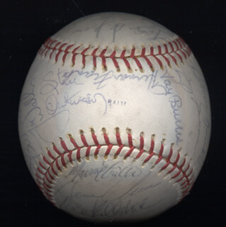 THE CHICAGO CUBS - AUTOGRAPHED SIGNED BASEBALL CO-SIGNED BY: PETE BROBERG, RICK BIG DADDY REUSCHEL, BRUCE SUTTER, DAVID (RODRIGUEZ) ROSELLO, MIKE KRUKOW, WILLIE HERNANDEZ, IVAN DEJESUS, MICKEY KELLEHER, DONNIE MOORE, RAY BURRIS, LARRY BIITTNER, JOSE CARDENAL, GENE CLINES, HERMAN FRANKS, PAUL REUSCHEL, GREG GROSS, STEVE ONTIVEROS, STEVE SWISHER, JIM (JAMES RICHARD) TODD, JERRY (JULIO) MORALES, MANNY INDIO TRILLO, GEORGE MITTERWALD, BOBBY MURCER, JOE WALLIS, BILL BONHAM, STEVE RENKO