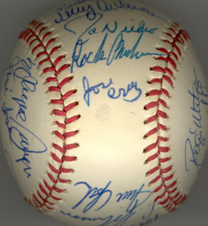 THE HOUSTON ASTROS - AUTOGRAPHED SIGNED BASEBALL CIRCA 1975 CO-SIGNED BY: CESAR CEDENO, MILT MAY, KEN BOSWELL, WILBUR L. HOWARD, DOUG ROJO, ROOSTER RADER, JERRY JOHNSON, ALFRED SKIP JUTZE, J. R. RICHARD, JERRY DAVANON, LARRY DIERKER, JIM YORK, WAYNE GRAINGER, JOSE SOSA, DOUG KONIECZNY, BILL VIRDON, MIKE COSGROVE, JOE NIEKRO, JIM CATFISH CRAWFORD, GREG GROSS, JOSE CRUZ, DAVE ROBERTS, BOB BULL WATSON, TOMMY HELMS, ROGER METZGER