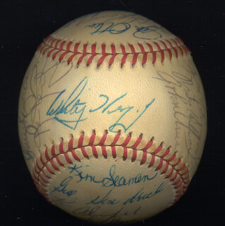 THE ST. LOUIS CARDINALS - AUTOGRAPHED SIGNED BASEBALL CIRCA 1980 CO-SIGNED BY: KEITH MEX HERNANDEZ, LEON BULL DURHAM, KEN OBIE OBERKFELL, KEN REITZ, TOM HERR, DON HOOD, TERRY KENNEDY, TONY SCOTT, JACK KROL, JOHN CHIEF URREA, GEORGE HENDRICK, JOHN LITTLEFIELD, DANE IORG, JIM OTTEN, MIKE RAMSEY, BOB SYKES, KIM SEAMAN, GARRY JUMP STEADY TEMPLETON, JIM KITTY KAAT, BOB FORSCH, WHITEY HERZOG, RED SCHOENDIENST
