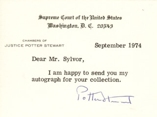 ASSOCIATE JUSTICE POTTER STEWART - TYPED NOTE SIGNED 9/1974