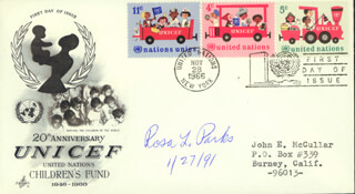 ROSA PARKS - FIRST DAY COVER SIGNED 01/27/1991