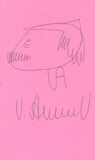 Autographs: VASILY PAVLOVICH AKSYONOV - SELF-CARICATURE SIGNED