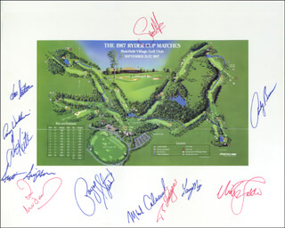 THE RYDER CUP - PHOTOGRAPH MOUNT SIGNED CO-SIGNED BY: TOM KITE JR., PAYNE STEWART, LANNY WADKINS, BERNHARD LANGER, SCOTT SIMPSON, NICK FALDO, SANDY LYLE, IAN WOOSNAM, HAL E. SUTTON, LARRY MIZE, ANDY BEAN, MARK CALCAVECCHIA