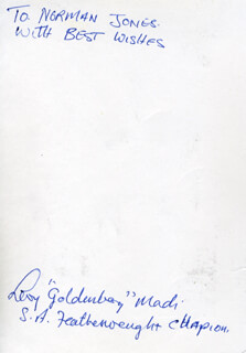 LEVI GOLDENBOY MADI - AUTOGRAPH NOTE ON PHOTOGRAPH SIGNED
