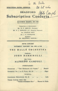 ALFREDO CAMPOLI - INSCRIBED PROGRAM SIGNED 01/13/1945
