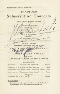 SIR JOHN BARBIROLLI - PROGRAM SIGNED CO-SIGNED BY: LAURANCE TURNER, PHILIP HECHT