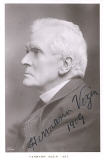 HERMANN VEZIN - PICTURE POST CARD SIGNED CIRCA 1909