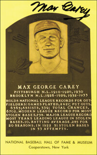 MAX SCOOPS CAREY - BASEBALL HALL OF FAME PLAQUE POSTCARD SIGNED