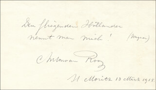 Autographs: ANTON VAN ROOY - AUTOGRAPH QUOTATION SIGNED 03/18/1915 CO-SIGNED BY: JESSE BENEDICT CARTER, TATE CARTER