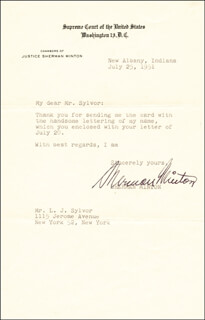 ASSOCIATE JUSTICE SHERMAN MINTON - TYPED LETTER SIGNED 07/25/1951