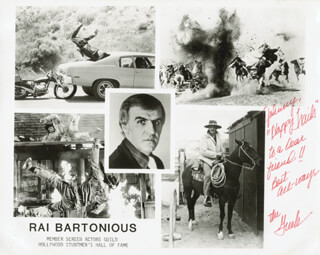 RAI THE GREEK BARTONIOUS - INSCRIBED PRINTED PHOTOGRAPH SIGNED IN INK