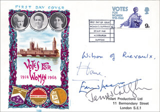 PRIME MINISTER JAMES CALLAGHAN (GREAT BRITAIN) - FIRST DAY COVER SIGNED CO-SIGNED BY: PRIME MINISTER EDWARD HEATH (GREAT BRITAIN), PRIME MINISTER ALEXANDER ALEC DOUGLAS-HUME (GREAT BRITAIN), PRIME MINISTER HAROLD WILSON (GREAT BRITAIN)