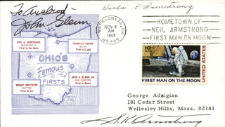JOHN GLENN - INSCRIBED COMMEMORATIVE ENVELOPE SIGNED CO-SIGNED BY: VIOLA L. ARMSTRONG, S. K. ARMSTRONG - HFSID 148766
