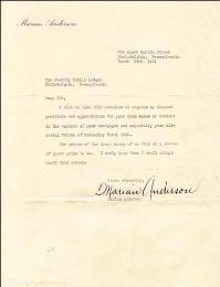 Autographs: MARIAN ANDERSON - TYPED LETTER SIGNED 03/24/1941