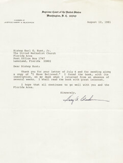 Autographs: ASSOCIATE JUSTICE HARRY A. BLACKMUN - TYPED LETTER SIGNED 08/12/1981
