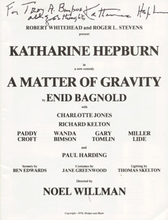 KATHARINE HEPBURN - INSCRIBED PROGRAM SIGNED
