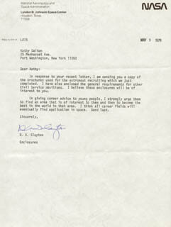 MAJOR DONALD DEKE SLAYTON - TYPED LETTER SIGNED 05/09/1978