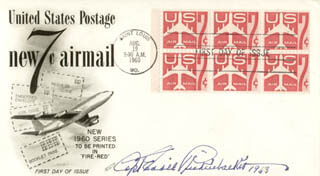 MAJOR EDWARD V. EDDIE RICKENBACKER - FIRST DAY COVER SIGNED 1963