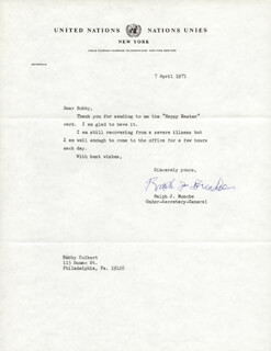 RALPH J. BUNCHE - TYPED LETTER SIGNED 04/07/1971