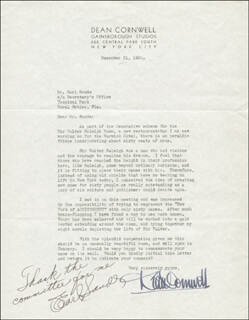 DEAN CORNWELL - TYPED LETTER SIGNED 12/31/1936 CO-SIGNED BY: EARL SANDE