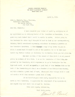 DANIEL CHESTER FRENCH - TYPED LETTER SIGNED 05/05/1912