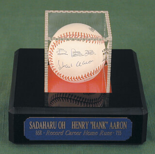 Autographs: SADAHARU OH - BASEBALL SIGNED CO-SIGNED BY: HANK AARON