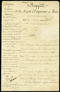 EMPEROR NAPOLEON BONAPARTE - MANUSCRIPT NOTE SIGNED 11/07/1810 CO-SIGNED BY: MARSHAL HENRI J.G. CLARKE